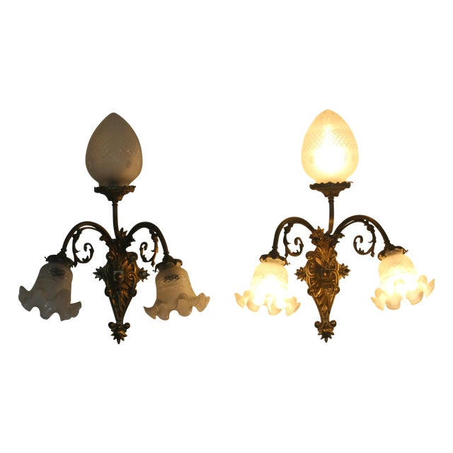 Victorian Brass & Cut Glass Wall Sconces - Pair - Image 1 of 6