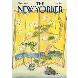 Vintage 1983 New Yorker Cover, May 9 (Eugene Mihaesco), Cats, Chinoiserie For Sale