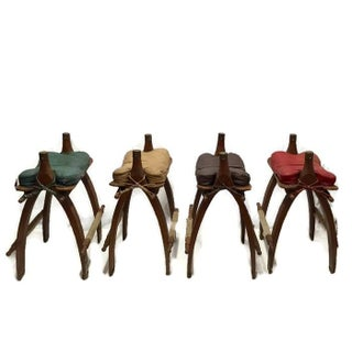 Vintage Egyptian Camel Saddle Bar Stools Set - 4 For Sale
