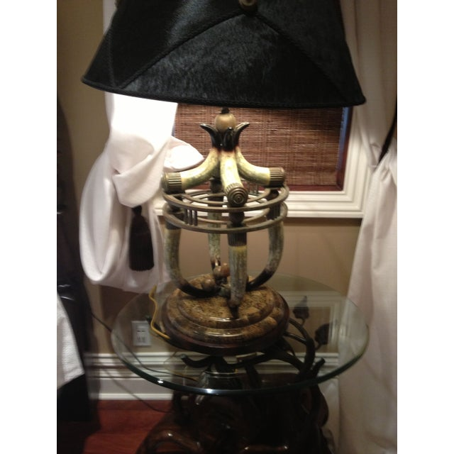 Maitland-Smith Faux Horn Table Lamp - Image 4 of 5