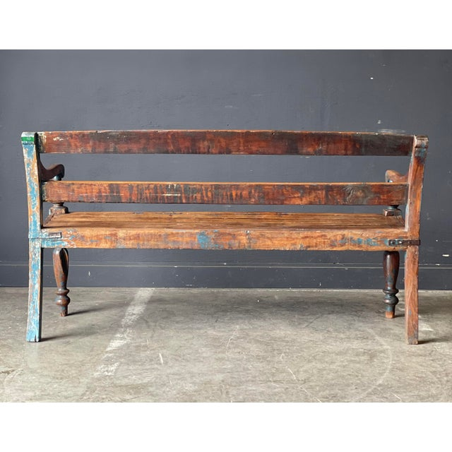 1930s Primitive Wood Bench For Sale - Image 5 of 10