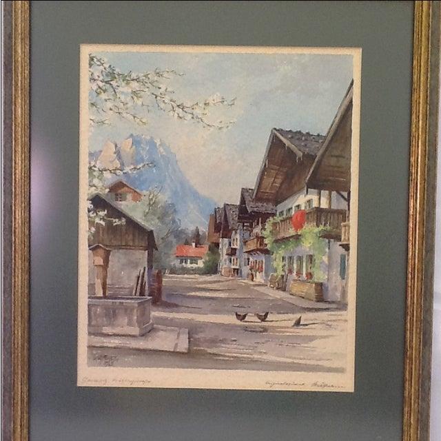 1960s German Village Original Watercolor - Image 3 of 11