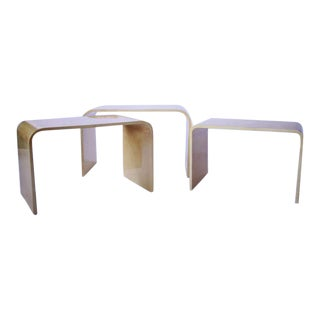 Parchment Nesting Tables in the Manner of Karl Springer For Sale