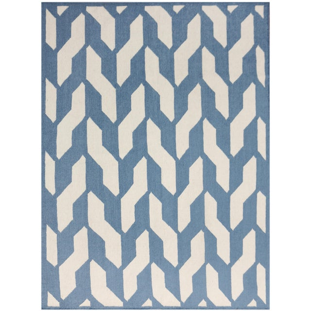 Zara Trellis Blue Flat-Weave Rug 3'x5' For Sale - Image 4 of 4