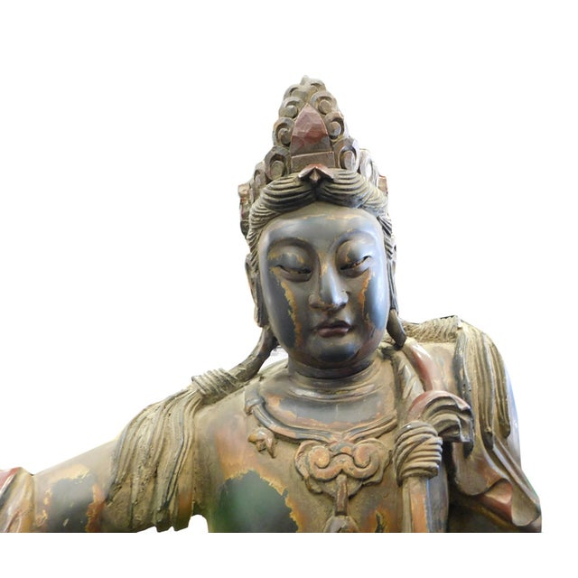 Distressed Golden Black Wood Kwan Yin Statue - Image 7 of 10