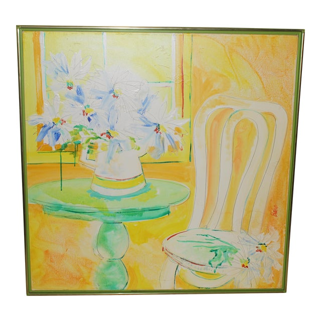 Vintage Mid-Century Yellow Still Life Painting For Sale