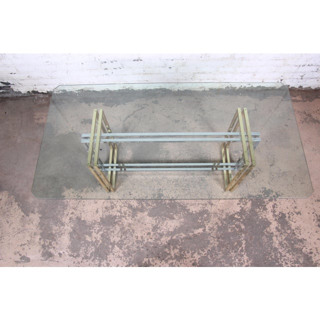 Hollywood Regency Dining Table in Brass, Chrome, and Glass For Sale In South Bend - Image 6 of 8