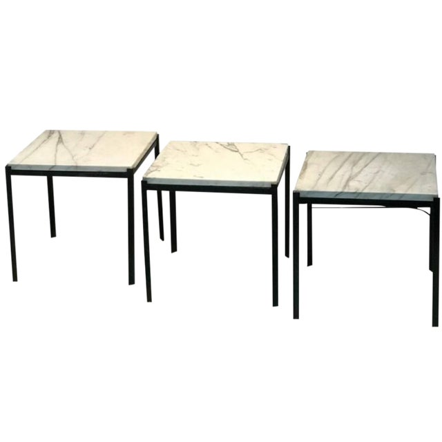 1970s Mid-Century Modern Marble Top Nesting Tables - Set of 3 For Sale