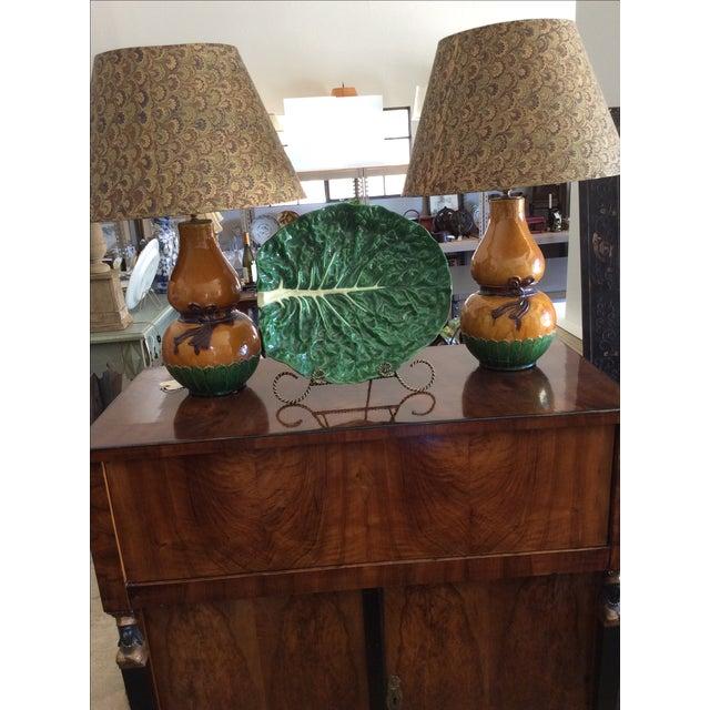 Green Vintage Portugese Green Leaf Platter For Sale - Image 8 of 8