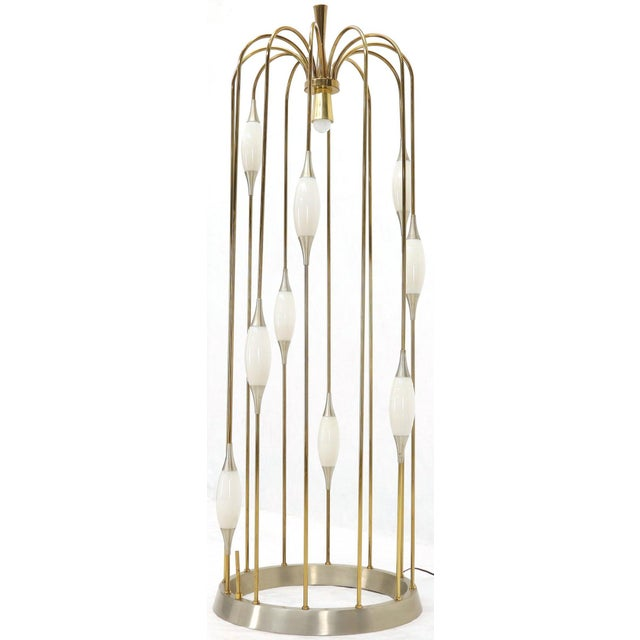 Large Waterfall Brass Floor Lamp Light Fixture For Sale - Image 9 of 12