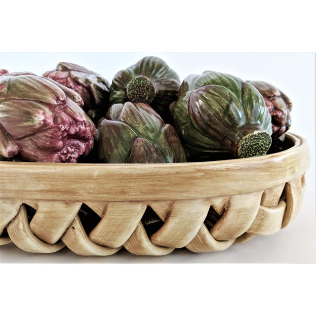 Red Jay Wilfred Div. Of Andrea Sadek Ceramic Basket With Artichokes For Sale - Image 8 of 11