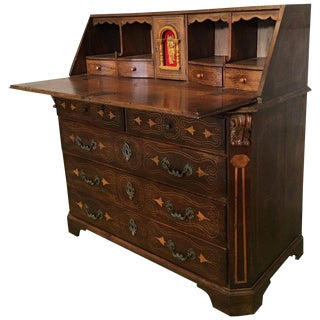 18th Century Spanish Walnut Marquetry, Chest of Drawers With Flap For Sale