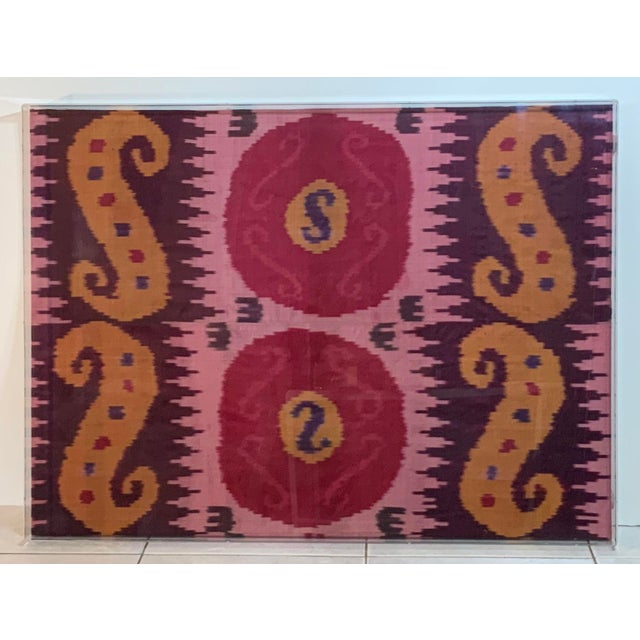 Antique Silk Ikat Display in Lucite Shadowbox For Sale - Image 10 of 13