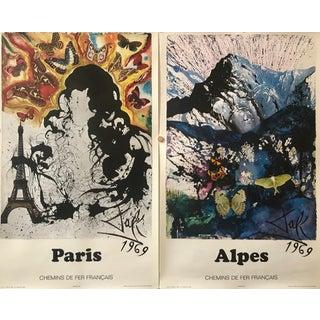 1969 French Salvador Dali Travel Posters, Paris + Alpes For Sale
