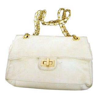 Italian White Pebble Leather Gilt Trim Handbag For Sale