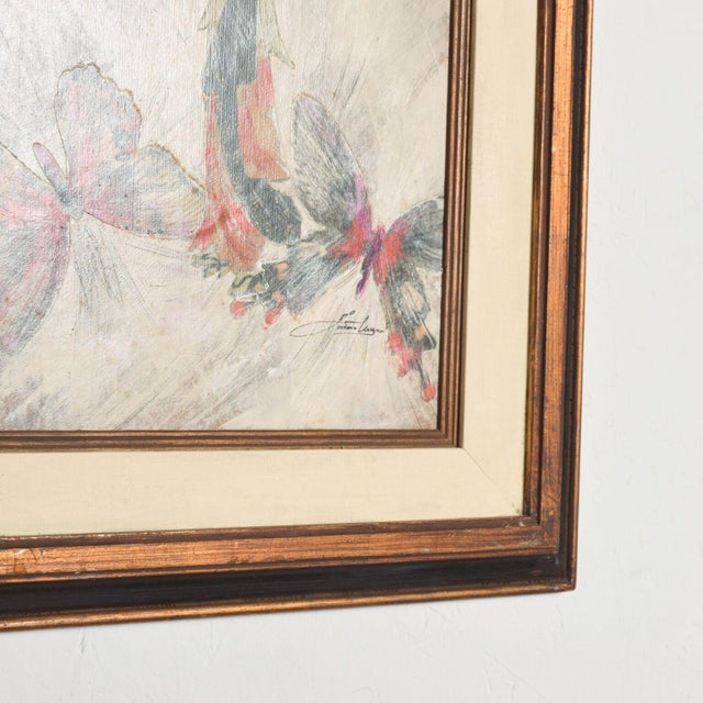 Wood Mixed Media Art, Japanese Woman Pink Butterflies, Signed Painting For Sale - Image 7 of 11