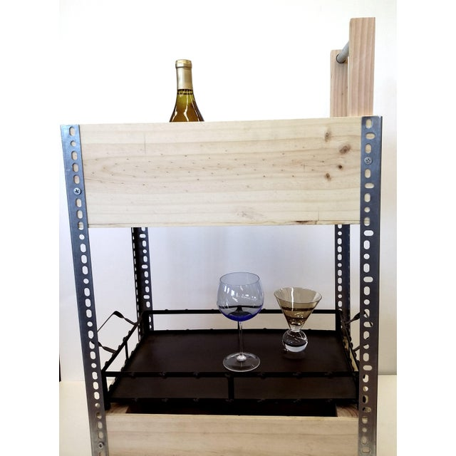 French Wine Box Industrial Bar Cart - Image 7 of 11