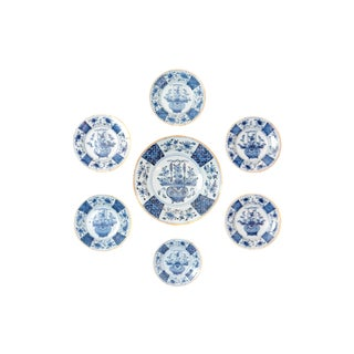 Chinese Flower Basket / Blue and White Delft Plates / Group of Seven For Sale