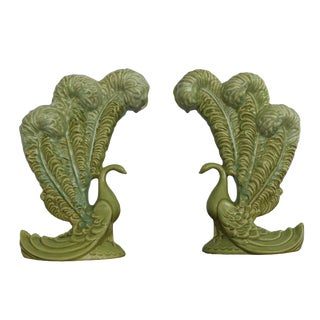 Royal Haeger Mid-Century Green Peacock Vases - A Pair