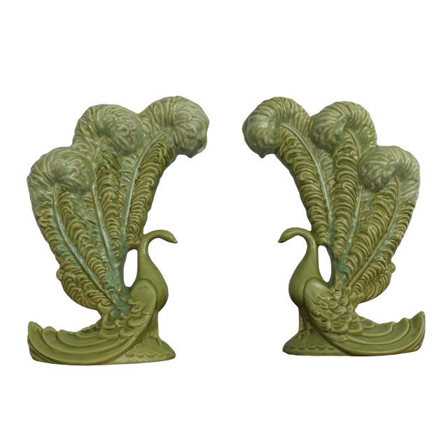 Royal Haeger Mid-Century Green Peacock Vases - A Pair - Image 1 of 4