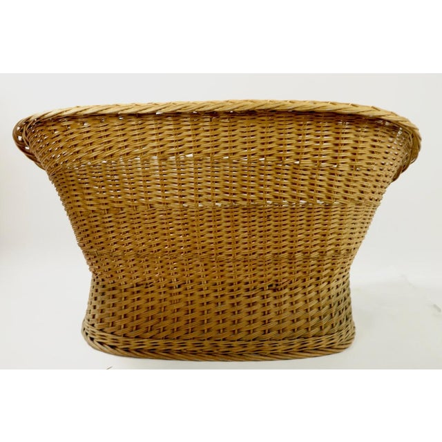 Mod Bar Harbor Style Woven Wicker Settee For Sale - Image 11 of 13