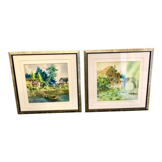 Chinese Landscape Watercolor Paintings - a Pair For Sale