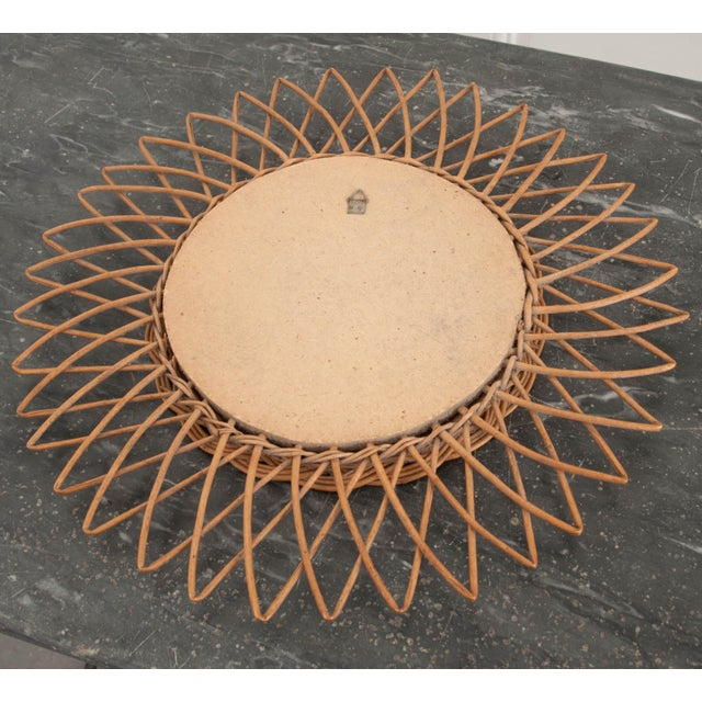 Tan English Vintage Rattan Sunburst Mirror For Sale - Image 8 of 9