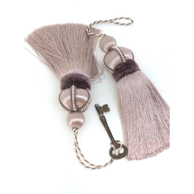 Lavender Key Tassel With Cut Velvet Ruche - a Pair For Sale - Image 9 of 12