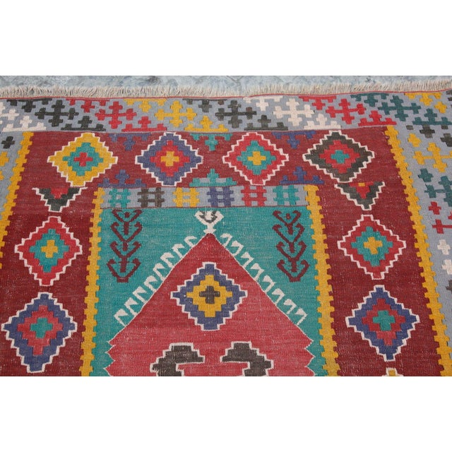 Antique Turkish Wool Kilim Rug - 4′5″ × 6′3″ For Sale - Image 4 of 7