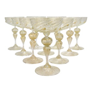Venetian Murano Glass Champagne Coupes Attributed to Salviati - Set of 10 For Sale