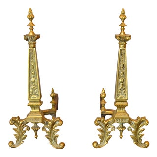 20th Century French Neoclassical Column Bronze Andirons - a Pair For Sale