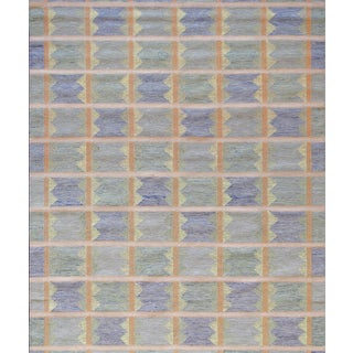 Mansour Modern Swedish Style Handwoven Wool Flatweave Rug For Sale