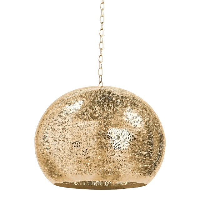 Pierced Metal Sphere Pendant in Natural Brass For Sale