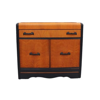 1940's Vintage Navy Accented Credenza For Sale