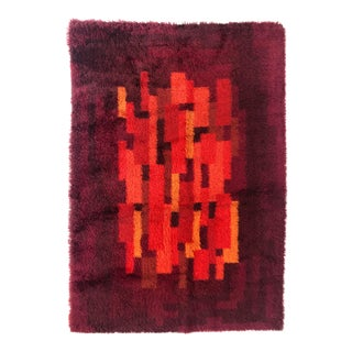 "Mid-Century Rya Shag Rug in Orange, Red and Purple – 6'5"" X 4'5"" For Sale"
