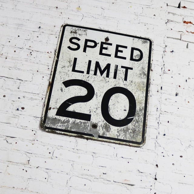 Late 20th Century Vintage Speed Limit 20 Large Steel Traffic Sign For Sale - Image 5 of 13