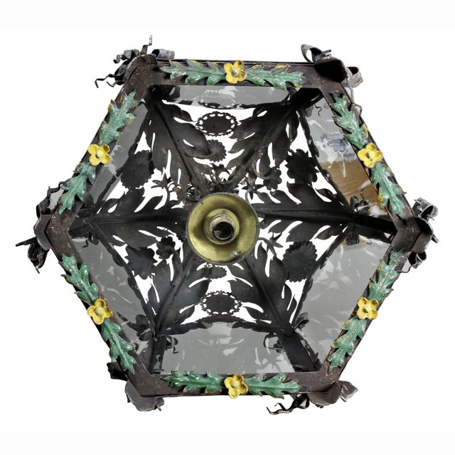 Italian Painted Tole Hanging Lantern For Sale - Image 10 of 12