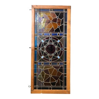 Antique Leaded Glass Panel For Sale