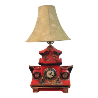 Vintage Asian Red Porcelain Buddha Table Lamp and Clock For Sale