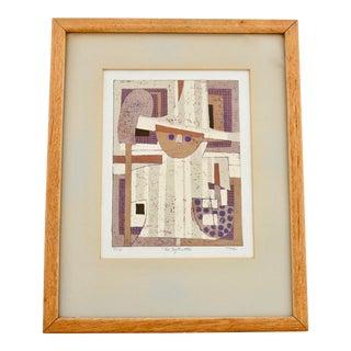 1960s Limited Edition Al Robi Framed Linocut For Sale