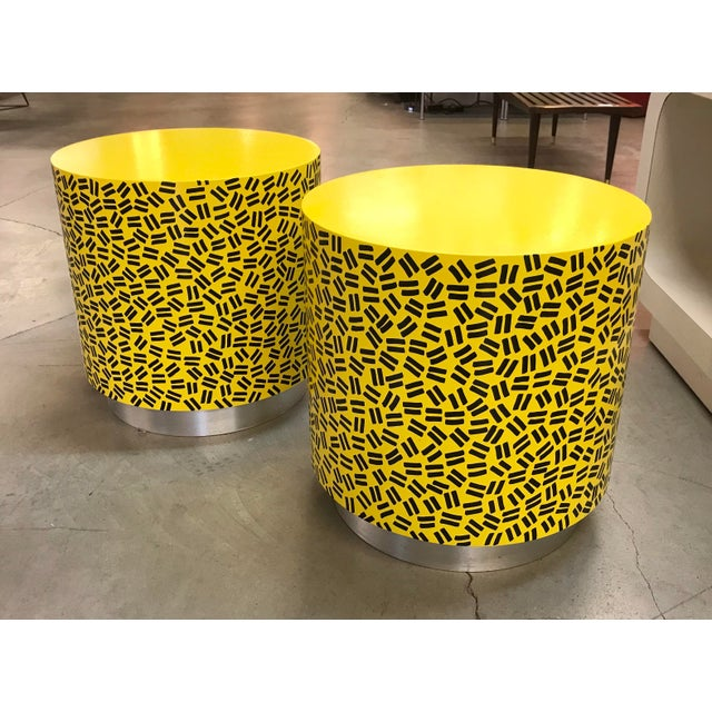 Pop Art Post Modern Cylinder Side Tables -A Pair For Sale - Image 5 of 7