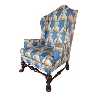 BAKER Stately Home Collection William & Mary Style Wing Back Arm Chair