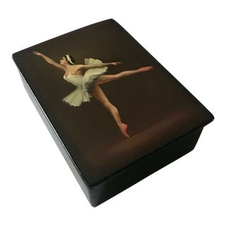 """Vintage Hand Painted Russian Lacquer """"Ballerina"""" Box For Sale"""
