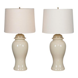 1990s Taupe Chinese Ceramic Temple Jars Mounted as Lamps - a Pair For Sale
