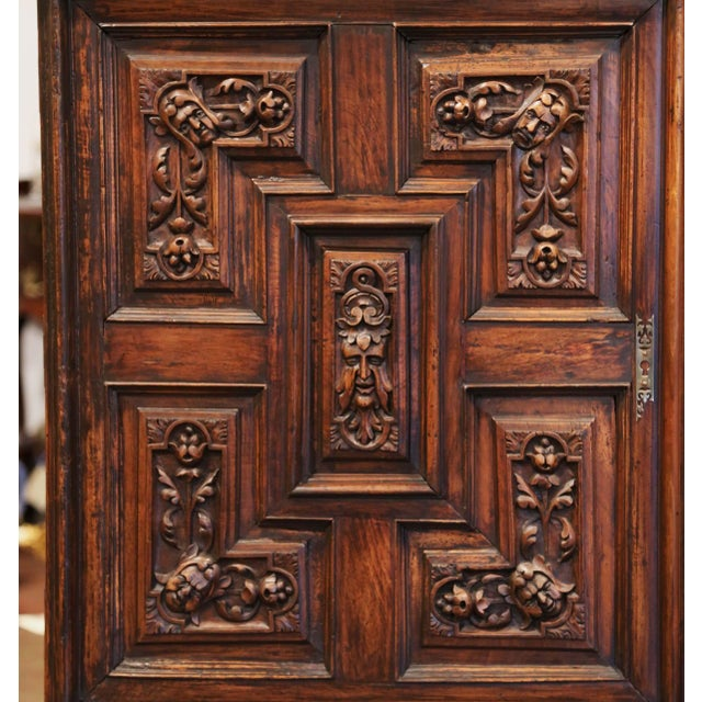 Brown 19th Century Italian Carved Walnut Two-Door Buffet Cabinet With Bottom Drawer For Sale - Image 8 of 13