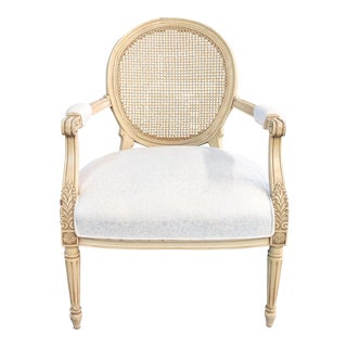 1970s Vintage French Provincial Cane Accent Chair For Sale