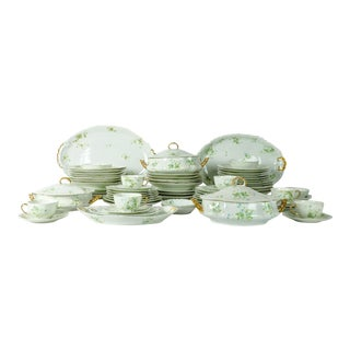 France Limoges Porcelain Dinner Service - 73 Pieces For Sale