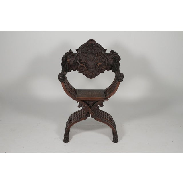 Gothic 1890 Gothic Revival Heavily Carved Campaign Chair For Sale - Image 3 of 13