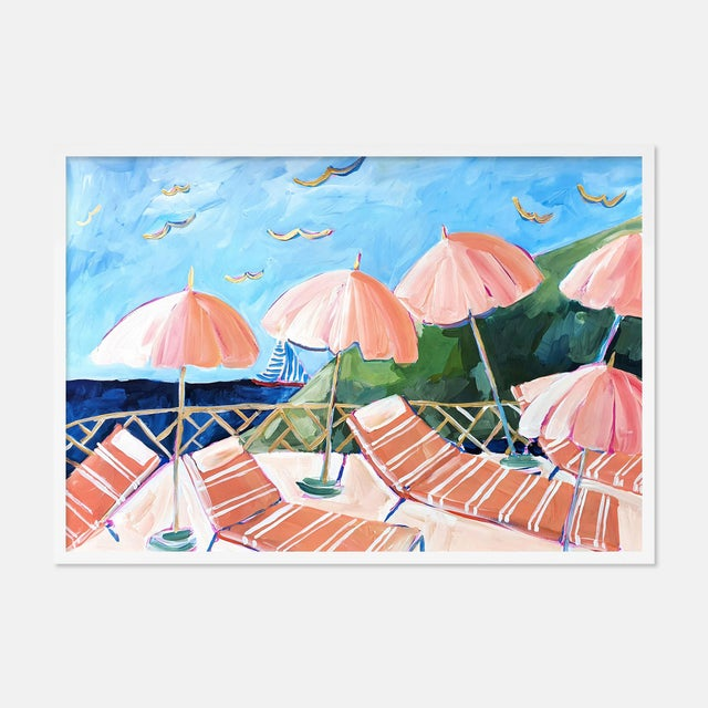 Contemporary Cabana 7 by Lulu DK in White Framed Paper, Large Art Print For Sale - Image 3 of 3