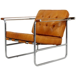 1970s Mid-Century Modern Hans Eichenberger De Sede Stendig Leather Chrome Chair For Sale